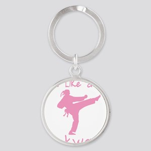 fight like a girl(blk) copy Round Keychain