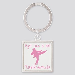 fight like a girl(blk) copy Square Keychain