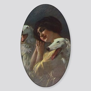 Lady And Borzoi Sticker (Oval)