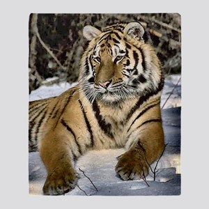 siberian tiger art Throw Blanket