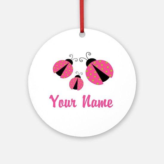 Ladybug Pink Personalized Ornament (Round)