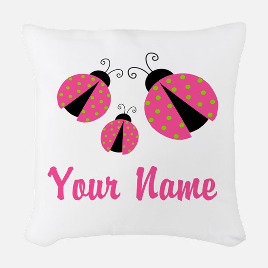 Ladybug Pink Personalized Woven Throw Pillow