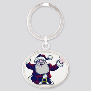 ASL Santa I Love You Oval Keychain