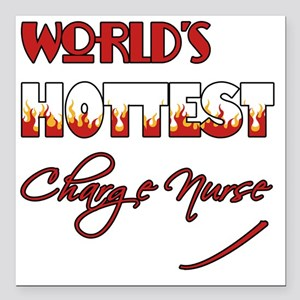 "World's Hottest Charge N Square Car Magnet 3"" x 3"""