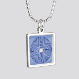 Lotus Labyrinth Silver Square Necklace Necklaces