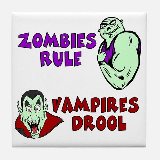 Zombies Rule Tile Coaster