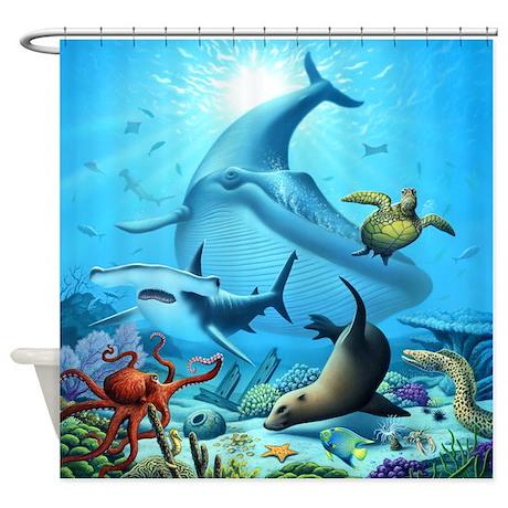 Ocean Life Shower Curtain By Jerrylofaro