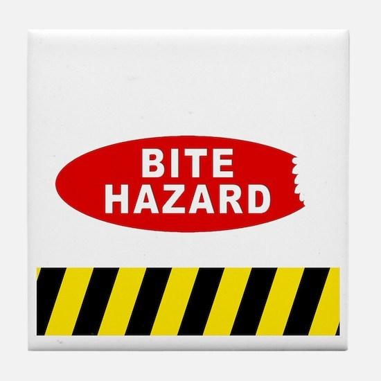 Bite Hazard dark Tile Coaster
