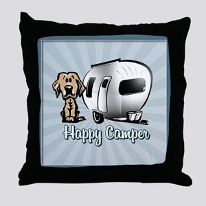 Happy Camper Dog Throw Pillow