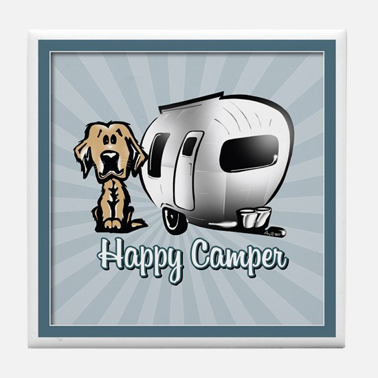 Happy Camper Dog Tile Coaster