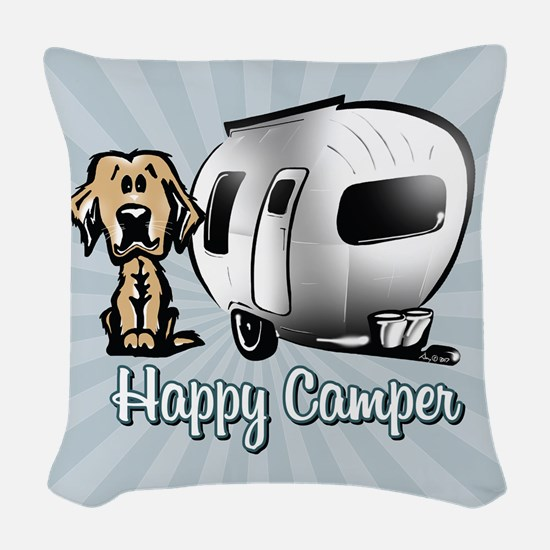 Happy Camper Dog Woven Throw Pillow