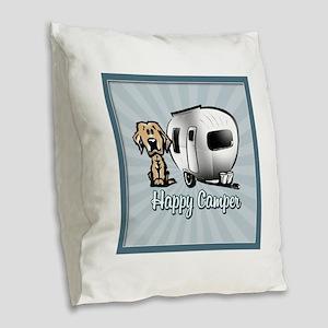 Happy Camper Dog Burlap Throw Pillow