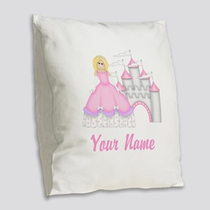 Princess Castle Personalized Burlap Throw Pillow
