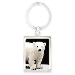 Polar Bear Cub Portrait Keychain