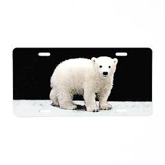 Polar Bear Cub Aluminum License Plate