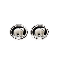 Polar Bear Cub Oval Cufflinks