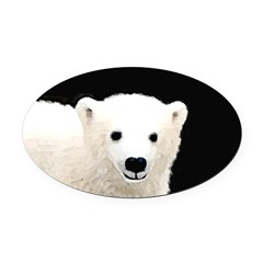 Polar Bear Cub Oval Car Magnet
