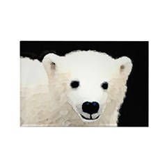 Polar Bear Cub Rectangle Magnet