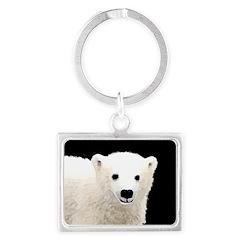 Polar Bear Cub Landscape Keychain