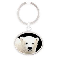 Polar Bear Cub Oval Keychain