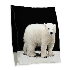 Polar Bear Cub Burlap Throw Pillow