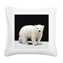 Polar Bear Cub Square Canvas Pillow