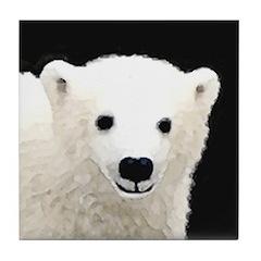 Polar Bear Cub Tile Coaster