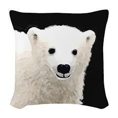 Polar Bear Cub Woven Throw Pillow