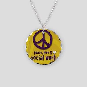 PeaceButton Necklace Circle Charm