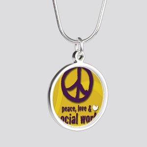 PeaceButton Silver Round Necklace