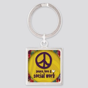 PeaceButton Square Keychain