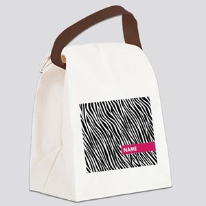 Add Name Zebra Stripes Canvas Lunch Bag