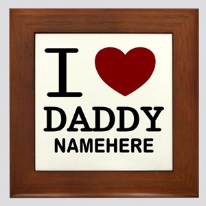 Personalized Name I Heart Daddy Framed Tile