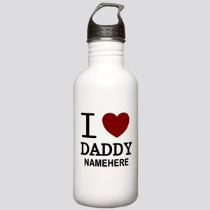 Personalized Name I Heart Daddy Stainless Water Bo