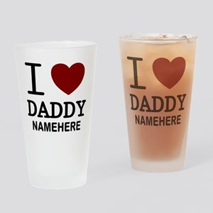 Personalized Name I Heart Daddy Drinking Glass