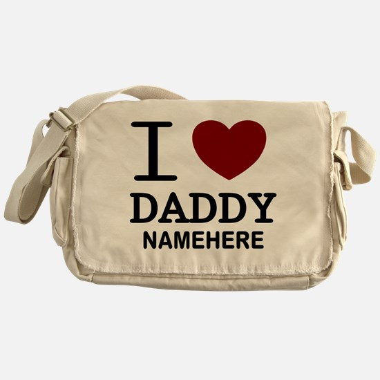 Personalized Name I Heart Daddy Messenger Bag