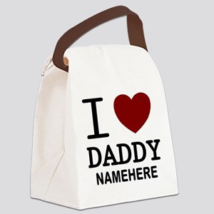 Personalized Name I Heart Daddy Canvas Lunch Bag