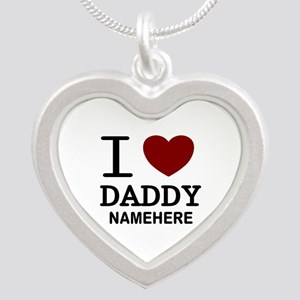 Personalized Name I Heart Daddy Silver Heart Neckl