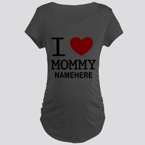Personalized Name I Heart Mommy Maternity Dark T-S
