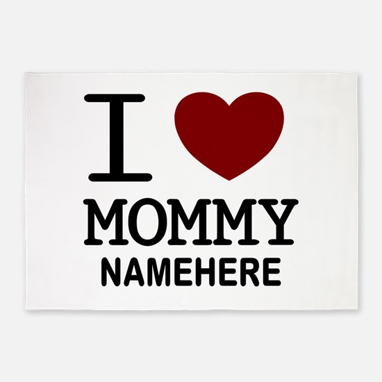 Personalized Name I Heart Mommy 5'x7'Area Rug