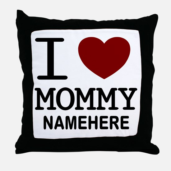 Personalized Name I Heart Mommy Throw Pillow