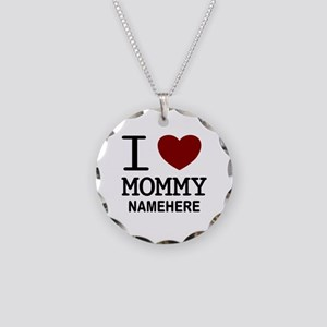 Personalized Name I Heart Mommy Necklace Circle Ch