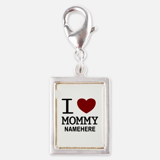 Personalized Name I Heart Mommy Silver Portrait Ch