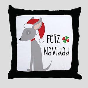 Feliz Navidad Chihuahua Throw Pillow