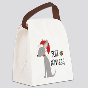 Feliz Navidad Chihuahua Canvas Lunch Bag