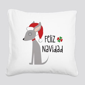 Feliz Navidad Chihuahua Square Canvas Pillow