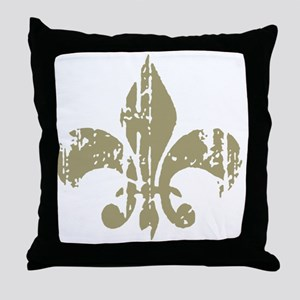 Distressed Fleur Throw Pillow