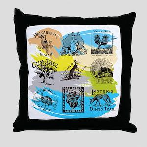 Old Tmarks_Animals_colour Throw Pillow