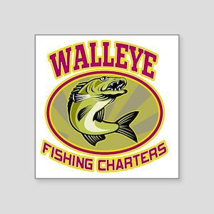 "walleye fish fishing charte Square Sticker 3"" x 3"""