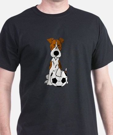 Fox Terrier Soccer Cartoon T-Shirt